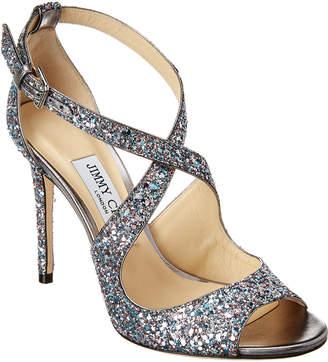 Jimmy Choo Emily 100 Coarse Glitter Leather Sandal