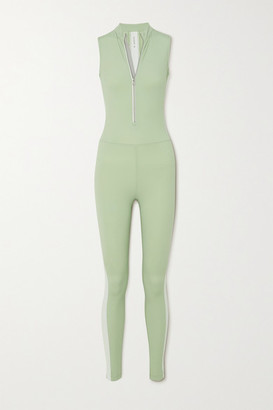 Vaara Dean Thermal Striped Stretch Bodysuit - Light green