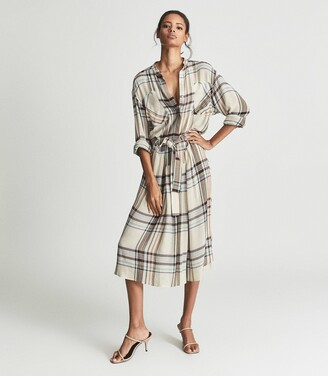 Reiss Lynn - Checked Shirt Dress in Cream