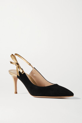 Gianvito Rossi 70 Bow-embellished Metallic Leather And Suede Slingback Pumps - Black