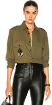 Saint Laurent Oversized Army Shirt in Green.