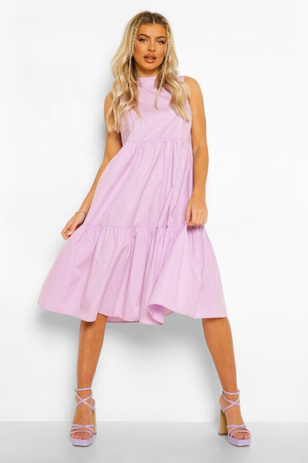 Thumbnail for your product : boohoo Cotton High Neck Tiered Midi Dress