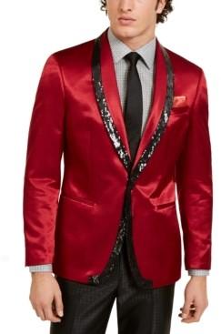 Tallia Men's Slim-Fit Red/Black Sequin Evening Jacket
