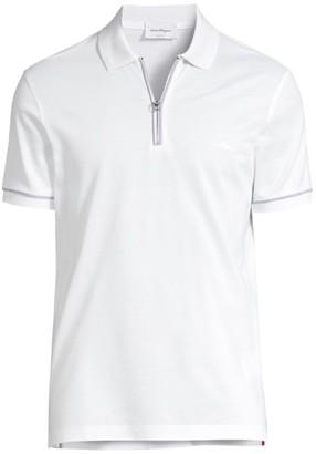 Salvatore Ferragamo Zip Basic Cotton Polo
