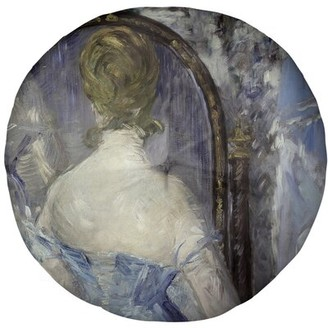 """East Urban Home Edouard Manet Before the Mirror Floor Pillow Size: 31.5"""" x 63"""", Color: Blue"""