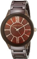 Anne Klein Women's AK/1673BNBN Topaz Swarovski Crystal Accented Brown Ceramic Bracelet Watch