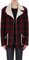 Saint Laurent Men's Faux-Shearling-Lined Plaid Coat-RED, NO COLOR