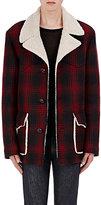 Saint Laurent MEN'S FAUX-SHEARLING-LINED PLAID COAT
