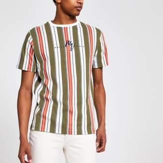 River Island Mens Orange stripe Maison Riviera slim T-shirt