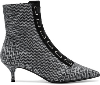 Tabitha Simmons Quin Lace-up Herringbone Wool Ankle Boots