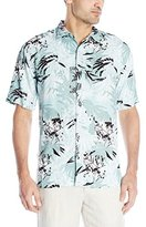 Cubavera Men's Short Sleeve All Over Tropical Printed Woven Shirt