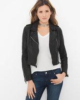 White House Black Market Cropped Leather Moto Jacket