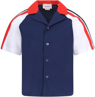 Gucci White And Blue Shirt For Boy With Red And Grreen Logo