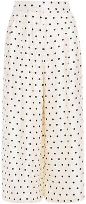 Adam Lippes Cropped Polka-dot Silk-twill Wide-leg Pants