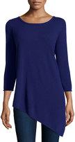 Neiman Marcus Cashmere Long-Sleeve Tunic Sweater, Medium Blue