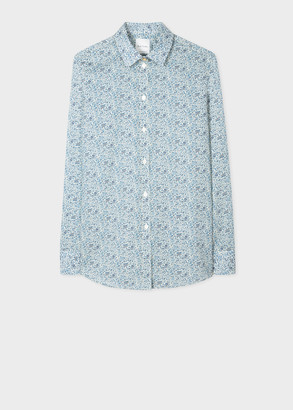 Paul Smith Women's Slim-Fit Blue 'Liberty Floral' Print Cotton Shirt