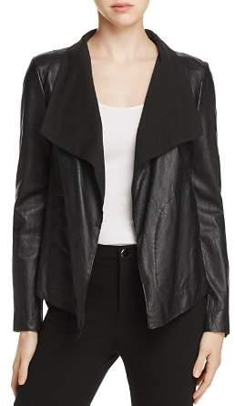 Donna Karan Draped Collar Leather Jacket