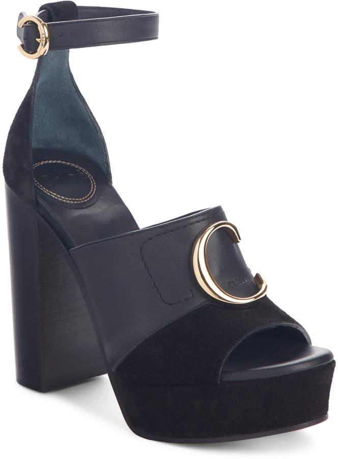 6e69017d731 C Logo Platform Ankle Strap Sandal