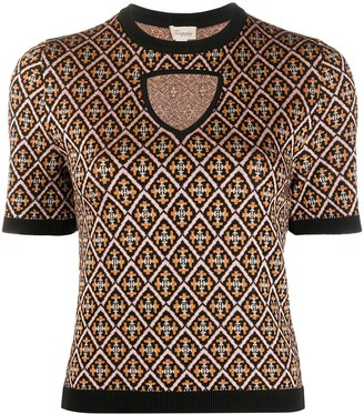 Temperley London Madame tile-jacquard knitted top