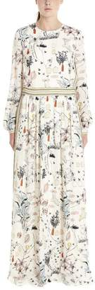 Tory Burch Printed Fitted Waist Maxi Dress