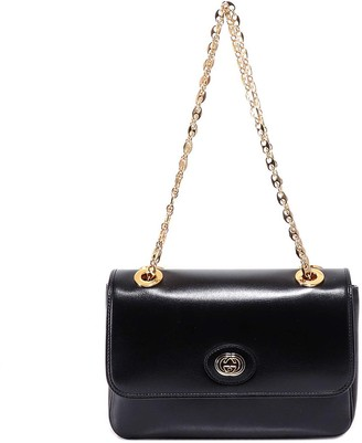 Gucci Monogram Plaque Fold-Over Shoulder Bag