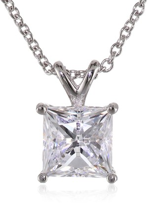 Amazon Collection Platinum-Plated Sterling Silver Swarovski Zirconia 2 ct Princess Solitaire Pendant