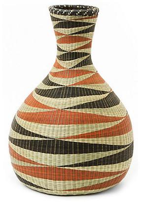 "All Across Africa 15"" Panthera Decorative Floor Vase - Orange/Black"