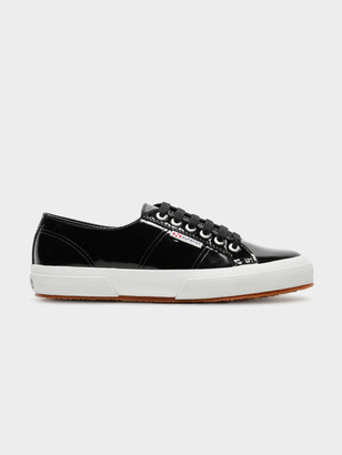 Superga Womens 2750 Leapatentw Sneakers in Shiny Black