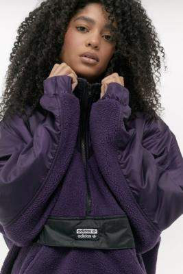 adidas Fleece Popover Jacket - purple XS at Urban Outfitters
