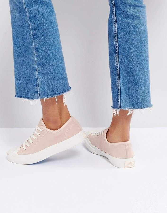 Converse Jack Purcell Suede Sneakers In Dusky Pink