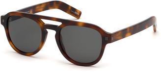 Ermenegildo Zegna Men's Havana Rectangular Acetate Sunglasses