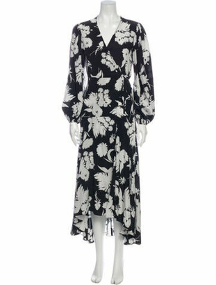 Ganni Silk Midi Length Dress Black