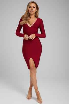 Made By Issae The 'Sienna' Burgundy Long Sleeve Bandage Dress