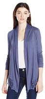 Amy Byer A. Byer Women's Open Front Cardigan with Lace Hem