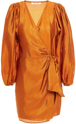 Samsoe & Samsoe Samse Samse Magnolia Draped Satin-crepe Mini Wrap Dress