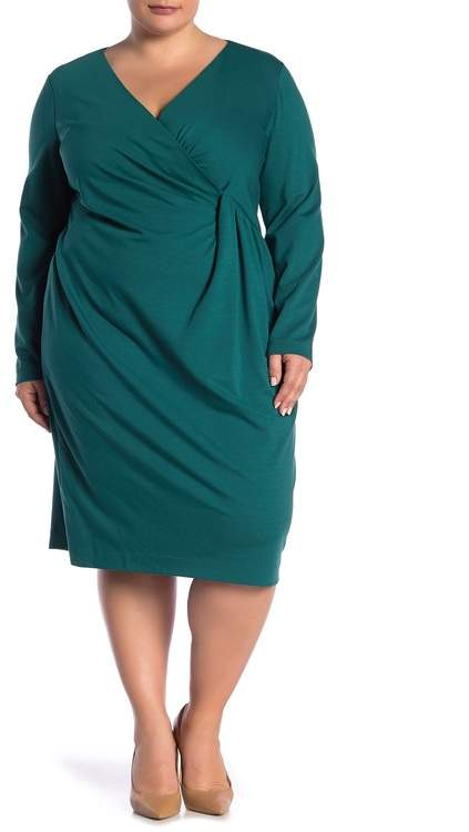 Pleated Long Sleeve Dress (Plus Size)