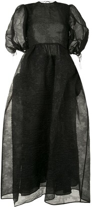 Cecilie Bahnsen Sheer Puff-Sleeve Maxi Dress