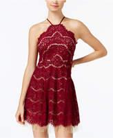 Trixxi Juniors' Lace Halter Fit & Flare Dress