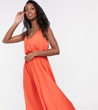 Asos Tall ASOS DESIGN Tall cami plunge blouson midi dress in bright orange