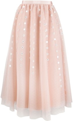 RED Valentino floral pattern pleated skirt
