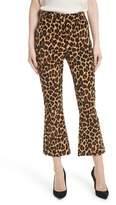 Frame Cheetah Print Velvet Crop Flare Pants