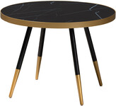 Design Studios Lauro Round Glossy Marble And Metal Coffee Table