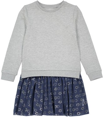 La Redoute Collections Cotton Mix 2-in-1 Effect Dress with Star Print, 3-12 Years