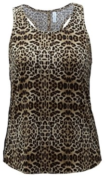Ideology Leopard-Print Diamond-Back Tank Top, Created for Macy's