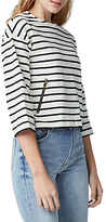 Warehouse Zip Pocket Striped Top, White/Navy