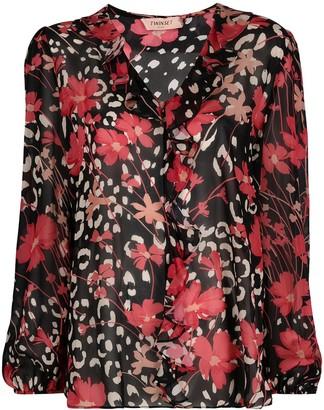 Twin-Set V-neck floral-print blouse
