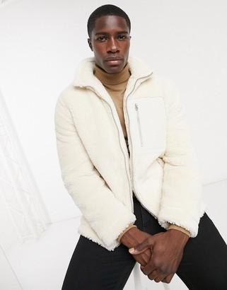 Topman borg jacket in ecru