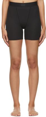 SKIMS Black Cotton Rib Boxer Shorts