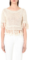 Free People Fringe cotton-blend knitted top