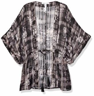 BCBGeneration Women's Plaid Floral Tie-Waist Robe